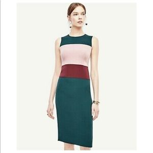Ann Taylor Petite Green Colorblock Sheath Dress